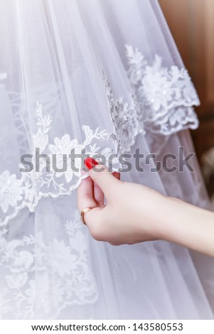 veil of the bride - stock photo