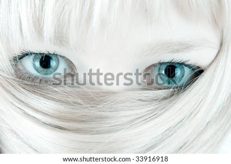 Veiled blond face. Hair and eyes. - stock photo