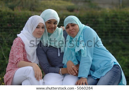 Veiled Muslim Girls - stock photo