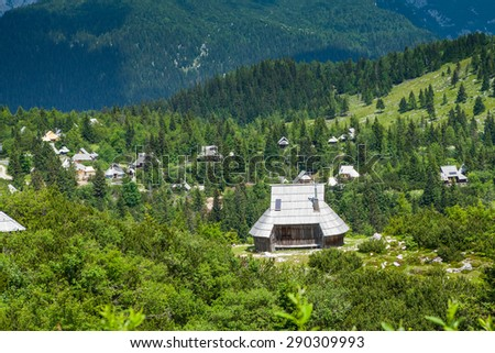 Velika Planina, Slovenia. Traditional village of mountain houses  - stock photo