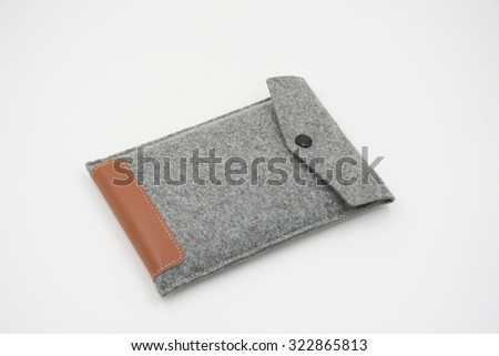Velvet bag, pouch for external hard disk - stock photo