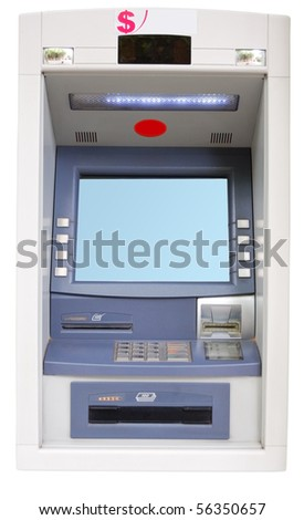 Vending Machine-ATM isolated on a white background - stock photo