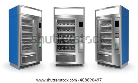 Vending machine set on white background. 3d render - stock photo