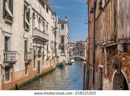 Venetian canal Rio de la Pleto. Old walls with balcony and architectural elements. Venice, Veneto, Italy - stock photo