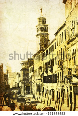 Venetian Canal. Vintage style illustration of Venice with an added paper grunge texture - stock photo