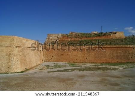 Venetian fortification Walls of Chania, Crete, Greece - stock photo
