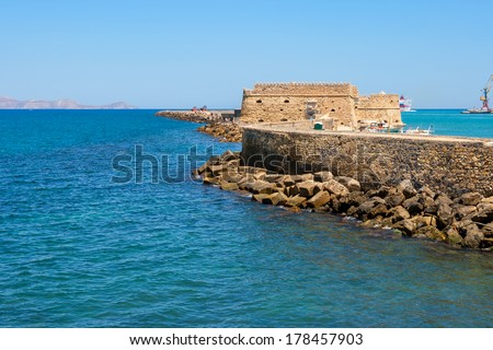 Venetian Fortress of Rocca al Mare in Heraklion harbour. Heraklion, Crete, Greece - stock photo
