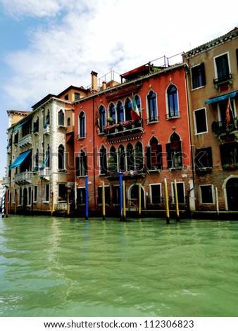 Venetian Homes on the Grand Canal - stock photo