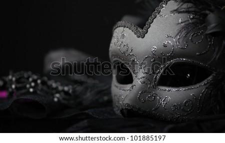 Venetian Mask, against black background - stock photo