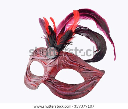 Venetian red Carnival half mask with feathers, isolated on white background. More masks at http://www.shutterstock.com/sets/13916221-masks.html?rid=2867935 - stock photo