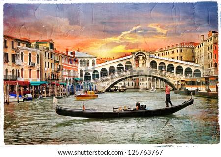 Venetian sunset, artwork in  panting style - stock photo