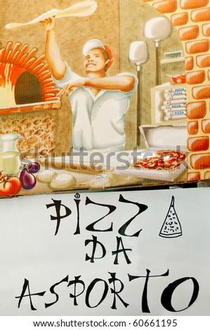 Venetian take away pizza handmade sign at Venice, Italy - stock photo