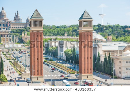 Venetian Towers at Espanya square in Barcelona, Catalonia, Spain - stock photo
