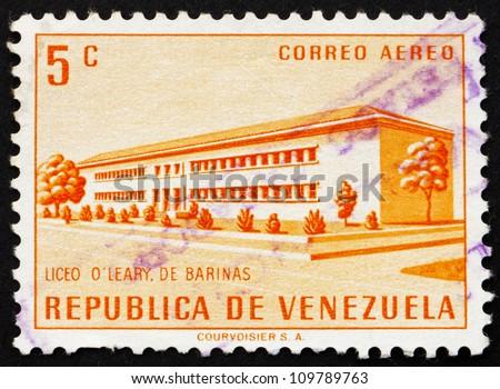 VENEZUELA - CIRCA 1956: a stamp printed in the Venezuela shows O'Leary School, Barinas, circa 1956 - stock photo