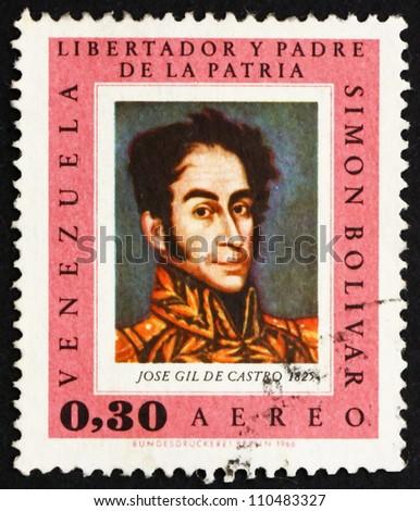 VENEZUELA - CIRCA 1966: a stamp printed in the Venezuela shows Simon Bolivar, Liberator, Revolutionary, Portrait, 2nd President of Venezuela, 1813 - 1814, circa 1966 - stock photo