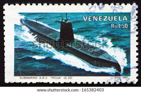 VENEZUELA - CIRCA 1980: a stamp printed in the Venezuela shows Submarine Picua, circa 1980 - stock photo