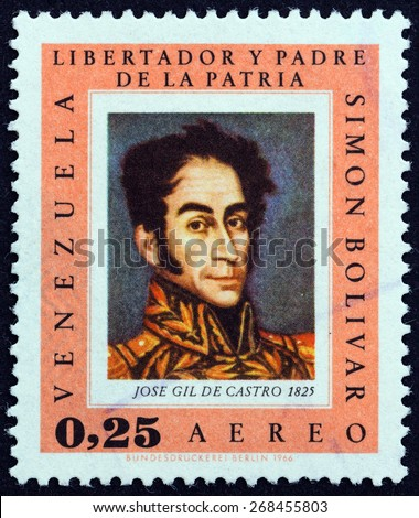 "VENEZUELA - CIRCA 1966: A stamp printed in Venezuela from the ""Bolivar Commemoration, 1783-1830 "" issue shows Simon Bolivar by Jose Gil de Castro, 1825, circa 1966. - stock photo"