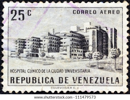 """VENEZUELA - CIRCA 1956: A stamp printed in Venezuela from the """"Public Works"""" issue shows University Hospital, Caracas , circa 1956. - stock photo"""