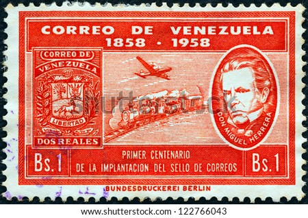 VENEZUELA - CIRCA 1959: A stamp printed in Venezuela issued for the centenary of first Venezuelan stamps shows stamp of 1859, Don Miguel Herrera, mail train and Douglas DC-6 airliner, circa 1959. - stock photo