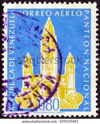 VENEZUELA - CIRCA 1960: A stamp printed in Venezuela shows National Pantheon, Caracas, circa 1960. - stock photo