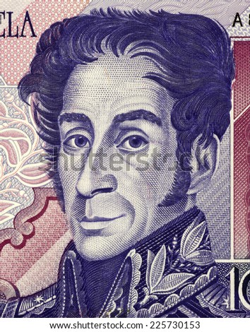 VENEZUELA - CIRCA 1998: Simon Bolivar (1783-1830) on 1000 Bolivares 1998 Banknote from Venezuela. One of the most important leaders of Spanish America's successful struggle for independence. - stock photo