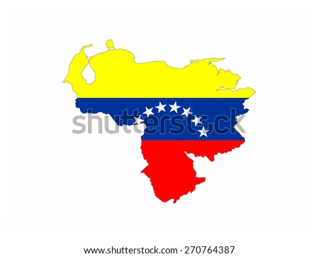 venezuela country flag map - stock photo