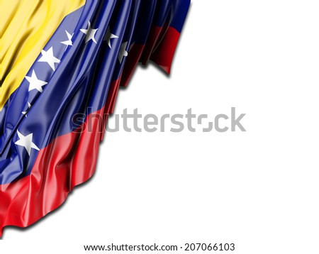 Venezuela Flag with white - stock photo