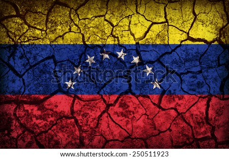 Venezuela pattern on the crack soil texture ,retro vintage style - stock photo