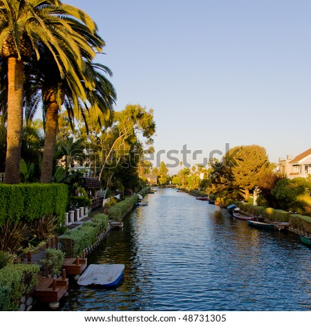 Venice Beach canals at sunset, Los Angeles, California. - stock photo