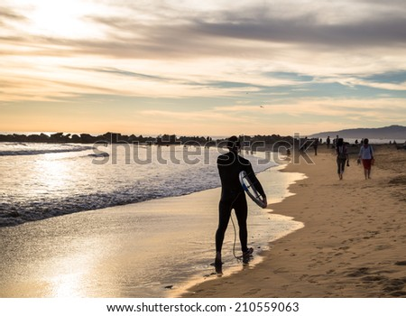 Venice Beach in Los Angeles in the evening. - stock photo