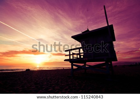 Venice beach sunset - stock photo