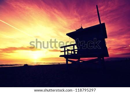 Venice beach sunset - stock photo