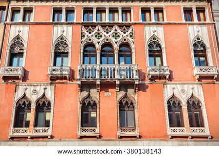 Venice buildings on the grand Canal - stock photo