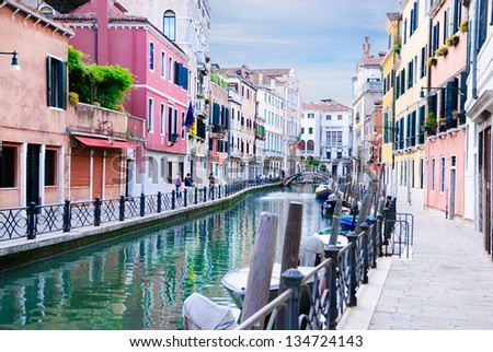 Venice canal, Italy in summer bright day - stock photo