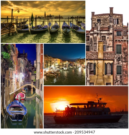 Venice city collage of photos - stock photo