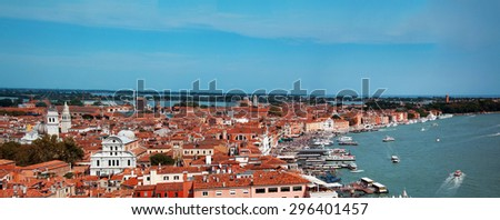 venice city italy long panorama buildings view - stock photo