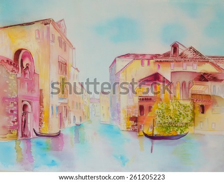 Venice, cityscape - an original modern painting on silk, batik - stock photo
