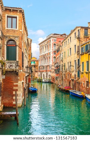 Venice cityscape, narrow water canal and traditional buildings. Italy, Europe. - stock photo