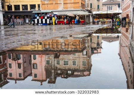 Venice flooded from the water and reflection,  Venice, Italy, Europe  - stock photo