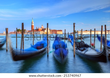 venice gondola on evening time - stock photo