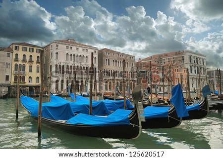 Venice gondolas Grand Canal panorama - stock photo