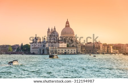 Venice, Grand Canal and Basilica Santa Maria della salute,Venice, Italy at sunset. - stock photo