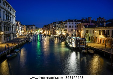 Venice, Grand Canal at Night. - stock photo