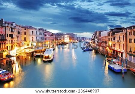 Venice - Grand canal from Rialto bridge - stock photo