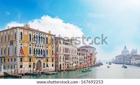 Venice Grand Canal under a blue sky - stock photo