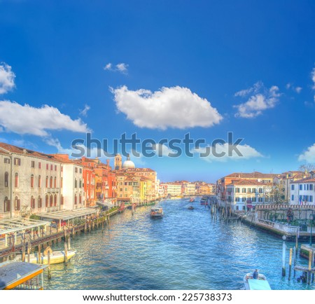 Venice Grand Canal under white clouds. iso 100, heavy processed for hdr tone mapping. - stock photo