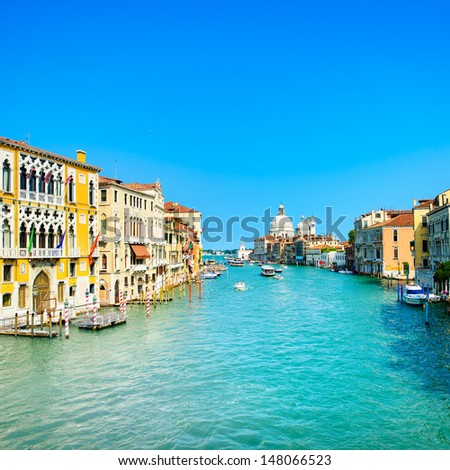 Venice grand canal view, Santa Maria della Salute church landmark. Italy, Europe. - stock photo