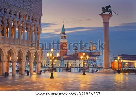 Venice. Image of St. Mark's square in Venice during sunrise. - stock photo