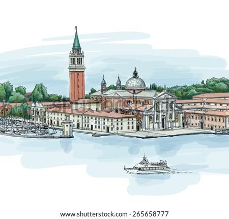 Venice - Island of San Giorgio Maggiore - stock photo