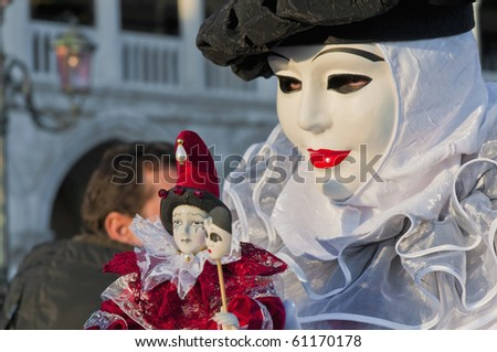VENICE, IT - FEBRUARY 15: Unidentified disguised woman posing at the Carnival of Venice February 15, 2009 in Venice, IT. - stock photo